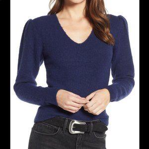 Something Navy Puff Sleeve V-neck Sweater